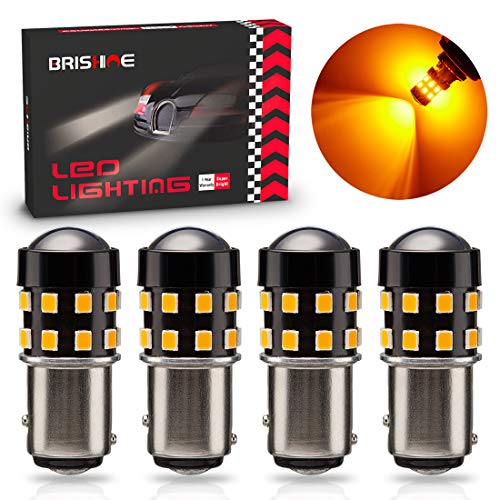 BRISHINE 4-Pack Super Bright 1157 2057 2357 7528 1157A LED Bulbs Amber Yellow 9-30V Non-Polarity 24-SMD LED Chipsets with Projector for Turn Signal Lights, Side Marker Lights