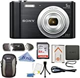Sony W800/B DSC-W800/B DSCW800B 20 MP Digital Camera 5X Optical Zoom (Black) Bundle with 64GB SDHC Memory Card, Table top Tripod, Deluxe Case, and Microfiber Lens Cloth