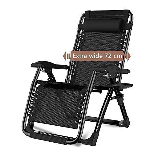 Tuin Vouwstoelen Zwarte Recliner Tuinstoel Thuis Outdoor Vouwen Zonnebank Zero Zwaartekracht Patio Stoel Ondersteunt Tot 200 kg