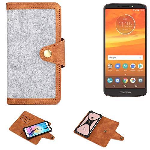 K-S-Trade® Handy-Hülle Für Motorola Moto E5 Plus Dual-SIM Schutz-Hülle Filz-Hülle Kunst-Leder Hellgrau Braun (1x)
