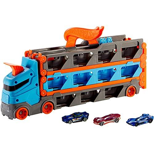 Hot Wheels GVG37 - 2-in-1 Rennbahn-Transporter zur Aufbewahrung mit 3Fahrzeugen im Maßstab 1:64 für Kinder von 4 bis 8Jahren