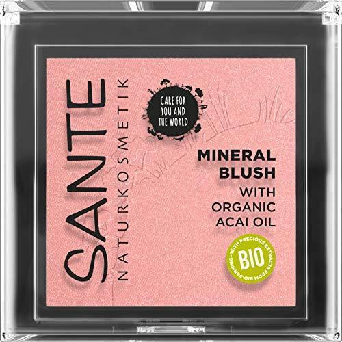 SANTE Naturkosmetik Mineral Blush 01 Mellow Peach, natürliches Rouge mit seidig-weicher Textur, verleiht natürliche Frische und setzt strahlende Farbakzente, mit wertvollem Bio-Acaiöl,Vegan, 5 g