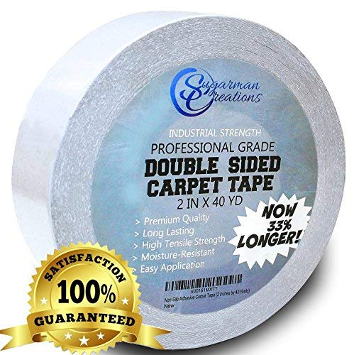 Sugarman Creations Strongest Double Sided Carpet Tape-[2-Inch-by-40-Yard,120 feet!-2X More!]- 5 Stars Professional Grade,Industrial Strength,Heavy...