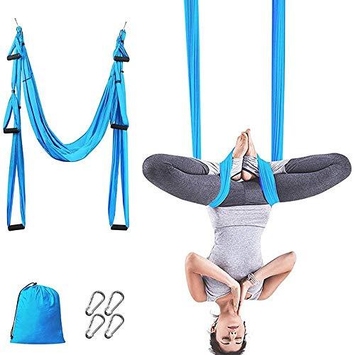 MQSS Telas Aereas Gancho, Kit de Hamaca Yoga Aéreo Columpio de Yoga Aéreo Hamaca de Yoga/Yoga Trapecio para Gimnasio, hogarblue