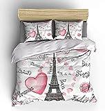 H-LIFE Ropa de cama de la Torre Eiffel, 135 x 200 cm, La Tour Eiffel, funda nórdica ligera de microfibra, adecuada para todas las estaciones (tractor 01, 135 x 200 cm + 80 x 80 cm x 2)