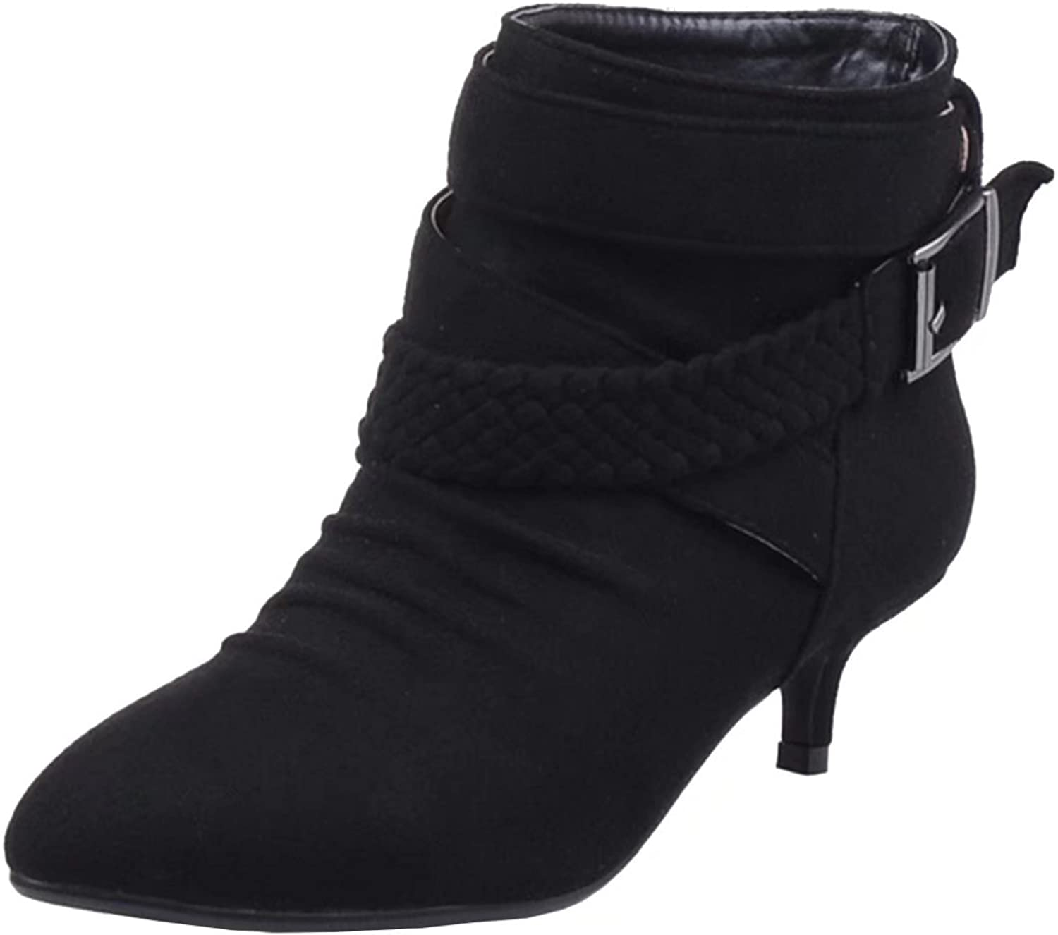 AIYOUMEI Women's Kitten Heel Booties Pointed Toe Autumn Winter Short Ankle Boots with Buckle