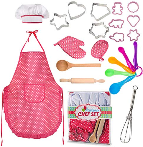 Famoby 22 Pcs Kids Cooking and Baking Set - Includes Apron for Girls,Chef Hat,Oven Mitt and Other Cooking Utensils for Toddler Chef Career Role Play,Girls Dress up Pretend Play Gift