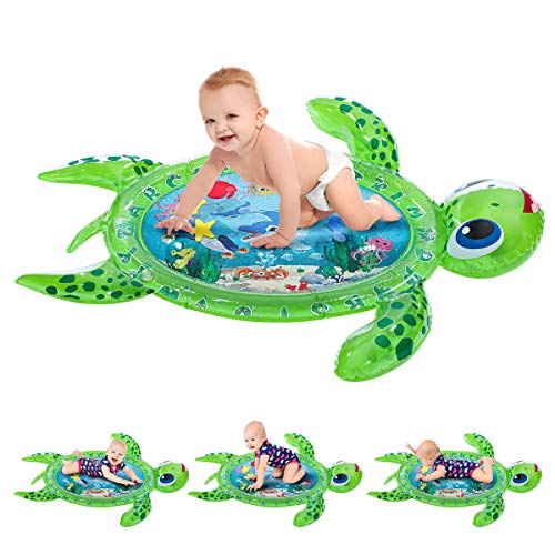 iBaseToy Tummy Time Baby Water Mat, Inflatable Play Mat for Infants & Toddlers, Fun Activity Play Center for 3 6 9 Months Newborn Boy Girl (Sea Turtle Shape)
