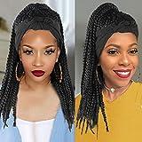 LEOSA Cornrow Braided Wig Headband Wigs for Black Women,Black Box Braid Wig with Headband Attached Braid Headband Wig Wrap Wig 2 in 1 Braided Wigs for Black Women Head Wrap Wig with Black braided wig
