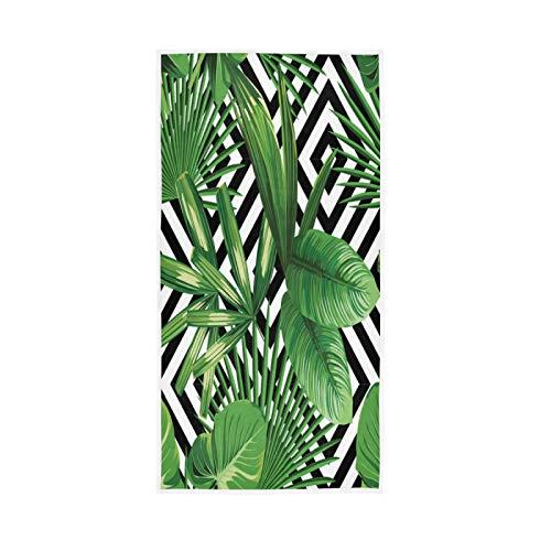 LUCKYEAH - Toallas tropicales de hojas de palma para niñas, mujeres, niños, toallas de mano de algodón suave absorbente para el hogar, hotel, piscina, gimnasio, 76 x 38 cm