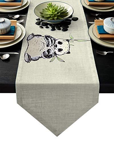 Camino de Mesa Curious Baby Pandas Eat Bamboo Design Pattern Camino de Mesa rústico Camino de Mesa de Granja,Uso Diario Decoración de recepción de Boda Sedosa