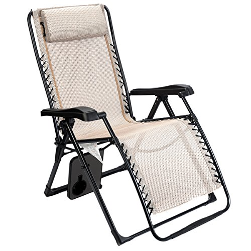 Timber Ridge Zero Gravity Lounge Chair Oversize XL Adjustable Recliner with Headrest for Outdoor Beach Patio Pool Support 350lbs