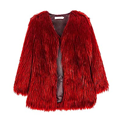 Froomer Women Female Fashion Casaul All-Match Solid Color Faux Fur Loose Long Sleeves Long Coat Jacket Red from Froomer