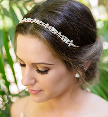 A+O Rose Gold Crystal Headband Hair Piece with Elastic for updo - One size