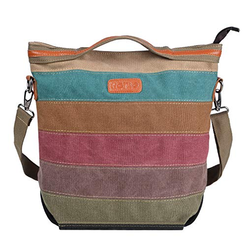 NOTAG canvas handtas dames, multicolor gestreepte schoudertas grote casual tote shopper schoudertas