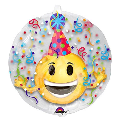 amscan 3457801 Insider Emoticon Party Hut Folienballon, Mehrfarbig
