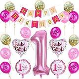 Nvetls 1er Cumpleaños Bebe Globos Decoracion Cumpleaños 1 Año Bebe Niño y Niña (Rosa)