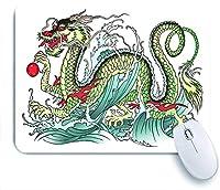 ECOMAOMI 可愛いマウスパッド 極東ウォータードラゴンスプラッシュウェーブレジェンドクリーチャー 滑り止めゴムバッキングマウスパッドノートブックコンピュータマウスマット