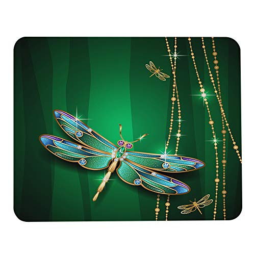 Wozukia Dragonfly Mouse Pad Vivids in Gemstone Crystal Diamond Shapes Graphic Effects Green Mouse Pad Computer Accessories Home Office Space Cubicle Decor Gaming Mouse Pad Design 9.5 X 7.9 Inch
