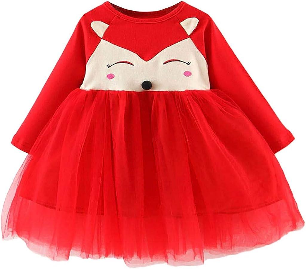 SALENEW very popular! Swyss 5% OFF Baby Girls Cartoon Fox Pattern Cotton Long Pa Dress Sleeve