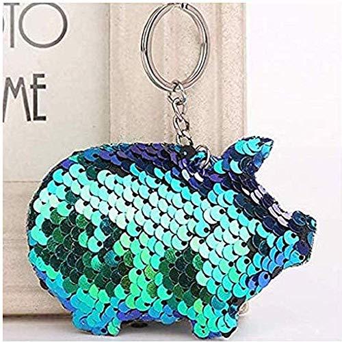 Gwill 4 piezas de moda lindo cerdo forma llavero reflectante brillante llavero regalo joyas mujeres teléfono caso cartera accesorios llavero