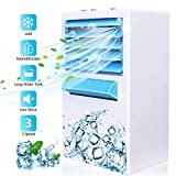 Personal Air Cooler, Vodche Mini Desktop Air Conditioning Fan with Icebox, 4-in-1 Portable Table Fan with 3 Fan Speeds, Quiet Mini Air Conditioner for Home & Office, Portable Air Humidifier