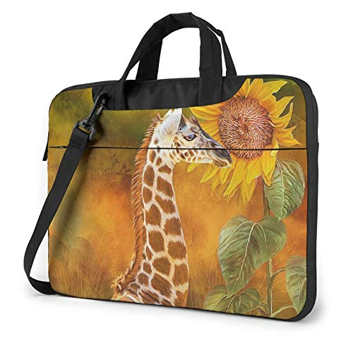 Giraffe and Sunflower Print Laptop Sleeve Compatible with 13-15.6 Inch, Notebook Computer Briefcase Bag
