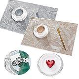 DBAILY Tovagliette, 4 Pezzi Rettangolo Scavate Forma a Foglia Coasters Oro Argento Tovagliette per la Decorazione della Casa del Ristorante della Cucina