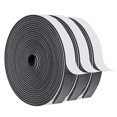 White Windows Doors Insulation Seal Tape 3 Rolls 1//4 Inch Wide X 1//8 Inch Thick Total 45 Feet Long Adhesive Foam Sealing Weather Stripping 3 X 15 Ft Each