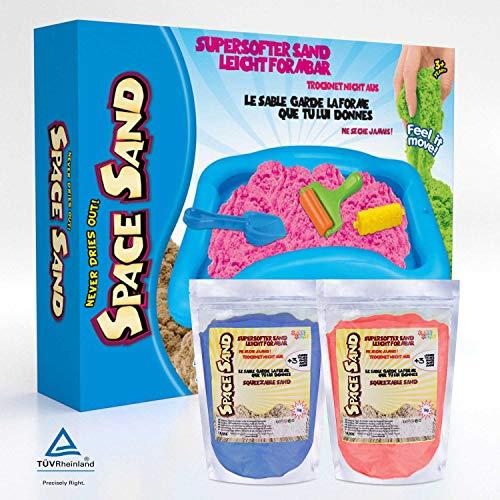 Leo & Emma 1.8kg Space Sand Safari Zoo Set 20tlg. 8 Förmchen mit Tieren, Schaufel, Modellierwerkzeug, Modellierwanne Therapiesand - Neues Modell 2020 TÜV getestet (0.9kg blau und 0.9kg rot)