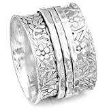 Boho-Magic 925 Sterling Silver Spinner Flowers Ring for Women Fidget Anxiety Relief Ring Band