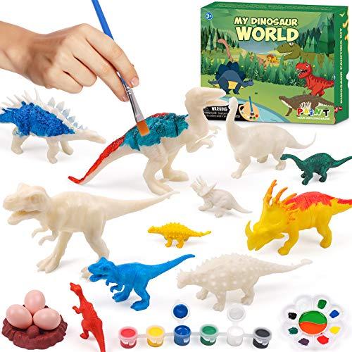 Hiveseen Dinosaurio Pintar Juguetes, 3D DIY Dinosaurio Figuras Pintar Manualidades Incluir Stegosaurus,Brachiosaurus,Styracosaurus,Ankylosaurus, Ankylosaurus, Tyrannosaurus Rex para Niños