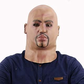 Bald Cap Men's Mask Creepy Scary Mask Adults Props Halloween Mask Head Bald Big Brother Realistic Human Face Horror Mask