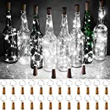 Olafus Cork Lights for Wine Bottles, 24 Pack 20 LEDs Mini Cork Fairy Lights Battery Operated Silver Wire Micro Starry String Light for Mason Jars DIY Crafts Wedding Party Table Decor Daylight White