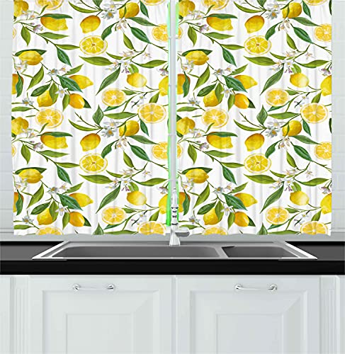 """Ambesonne Nature Kitchen Curtains, Exotic Lemon Tree Branches Yummy Delicious Kitchen Gardening Design, Window Drapes 2 Panel Set for Kitchen Cafe Decor, 55"""" X 39"""", Green White"""