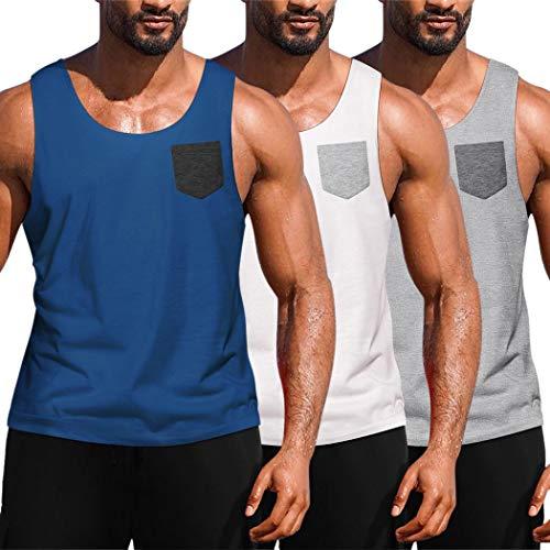 JINIDU Herren 3er Pack Workout Tank Tops Fitnessstudio Fitness Muskel ärmelloses T-Shirt Marineblau/Weiß/Hellgrau Medium