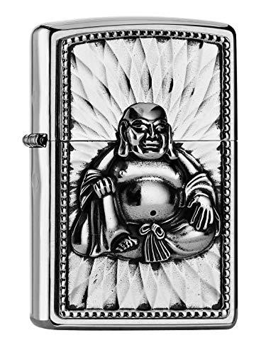 Zippo Herren Feuerzeug 2002068 Buddha with 108 Pearls Benzinfeuerzeug, Brushed Chrome, 1 x 3,5 x 5,5 cm