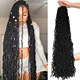 36Inch 6Packs Extended New Faux Locs for Soft Locs Crochet Hair, Natural Locs Crochet Braids Pre Looped Synthetic Hair (36Inch, 6Packs, #1B)
