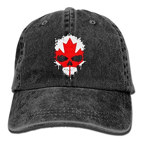 Casquettes de Baseball en Denim Teint Teint Canada Skull pour Hommes/Femmes Casquettes de Hip hop Ajustables Taille Unique pour Adultes