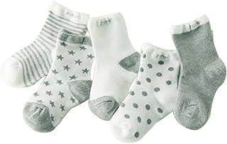 Blancho, Cinco pares de verano fino de malla de algodón algodón calcetines, gris
