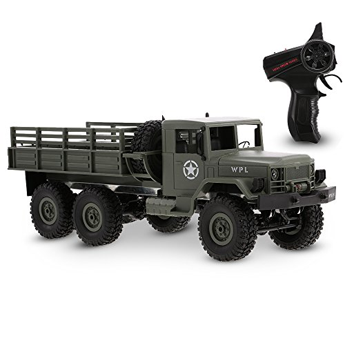 GoolRC WPL B-16 RC Car, 1/16 Scale 2.4Ghz 2CH 6WD Remote Control Military Truck, Off-Road Crawler Army Car Electric Vehicle with Light RTR for Kids Adults (Green)