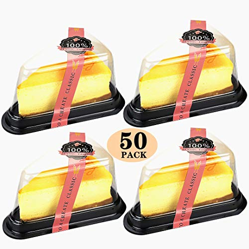 50 Pack 4 inch Clear Plastic Triangle Dessert Box with Sealing Stickers for Handmake Bakery Sliced Cake Box Birthday Wedding Favor