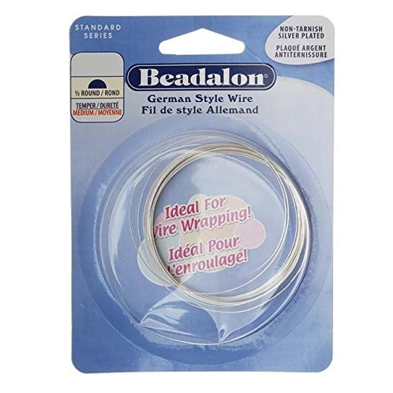 Beadalon German Style Wire, Half Round, Tarnish Resisitant Silver Plated, 22 Gauge, 5-Meters