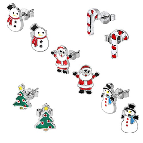 Christmas Stud Earring Set - Pack of 5 Pairs Hypoallergenic Christmas Gift Earrings for Teen Girls Women Earrings Including Red Santa Claus, Candy Cane, White Snowman, Green Christmas Tree