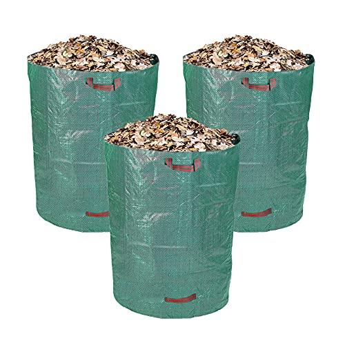 Schramm® 3 Stück Gartensäcke 160 L Polypropylen Gewebe PP Gartensack Garten Sack Säcke Big Bag Laubabfall