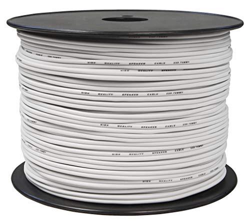 toolcity Cable de Altavoz (Zwilling Litz) 2x 0,75mm² (Box Cable/Cable de Audio, 100m) Color Blanco