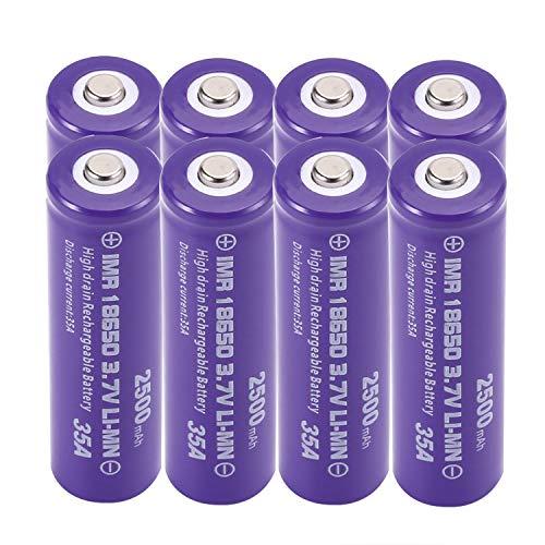 Batería de ion de litio 18650 recargable – 3,7 V 2500 mAh de alta capacidad – Batería de ion de litio – Potente y eficaz – para linterna/cámara, timbre o equipo electrónico (8 unidades)