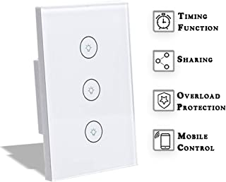 LightSmart Light-Dimmer Smart-Switch Wall, Wifi Remote Control for Google Home, No Hub Required Ceiling Lights, Compatible with Alexa, Three Way Touch Panel (3 switches in 1 gang)