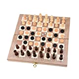 【2-IN-1 FAST SLING PUCK CHESS GAME】:Wooden Chess Set adding Ice Ball Air Hockey Game.2-in-1 design.A fast track dexterity game, strategy game. Great board game to play and spend quality time with family and friends. Solid wood frame and wooden play p...