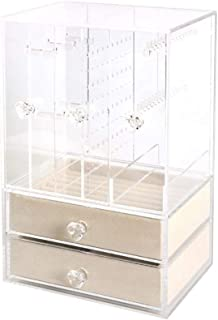 Transparent Desktop Storage Rack Multi-Layer Large Capacity Earrings Necklace Storage Box,Beige